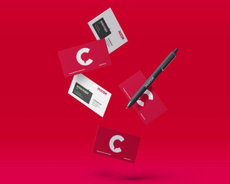 Pascom Visitenkarten und Stift