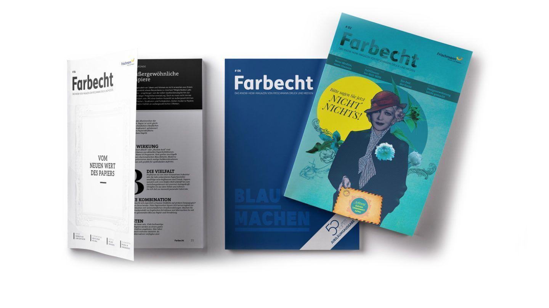Titelseiten Farbecht-Magazin Frischmann Druck & Medien