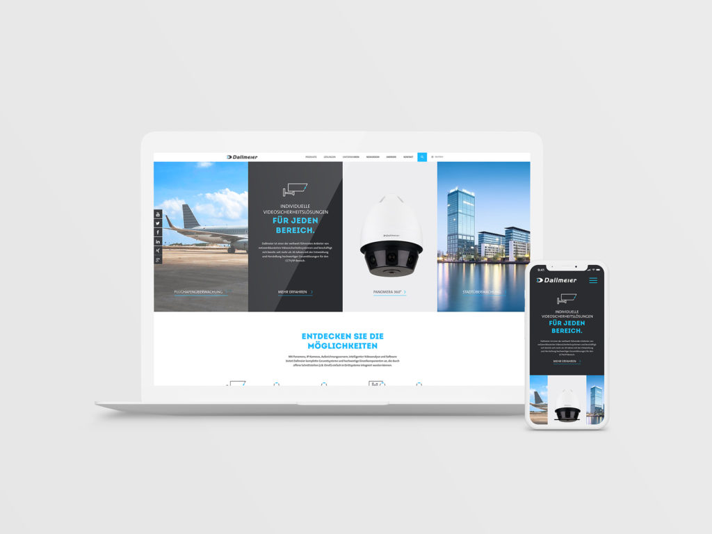 Dallmeier Website auf Macbook und iPhone