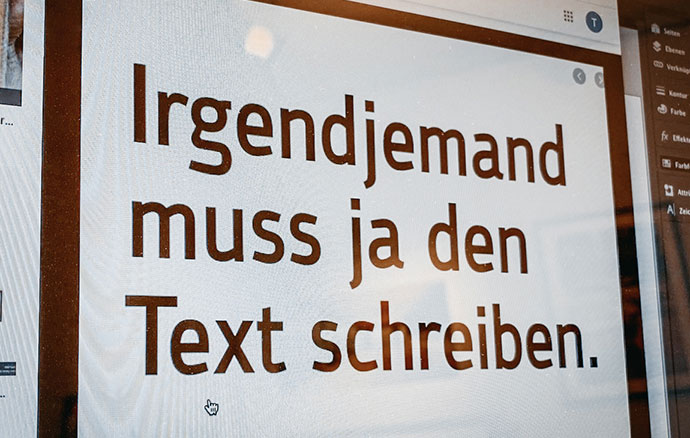 Text auf Display